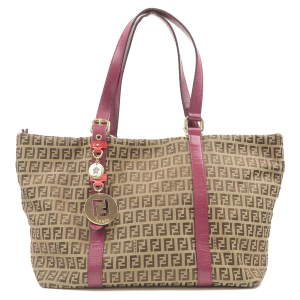 FENDI-Zucchino-Print-Canvas-Leather-Tote-Bag-Beige-Brown-8BH215