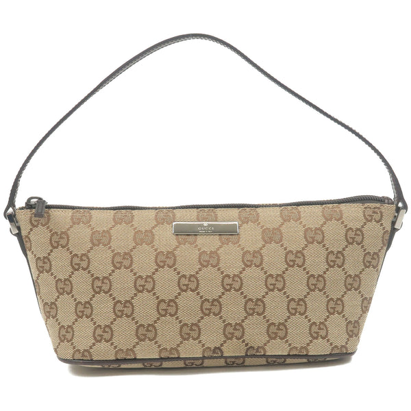 GUCCI-GG-Canvas-Leather-Pouch-Purse-Beige-Dark-Brown-07198