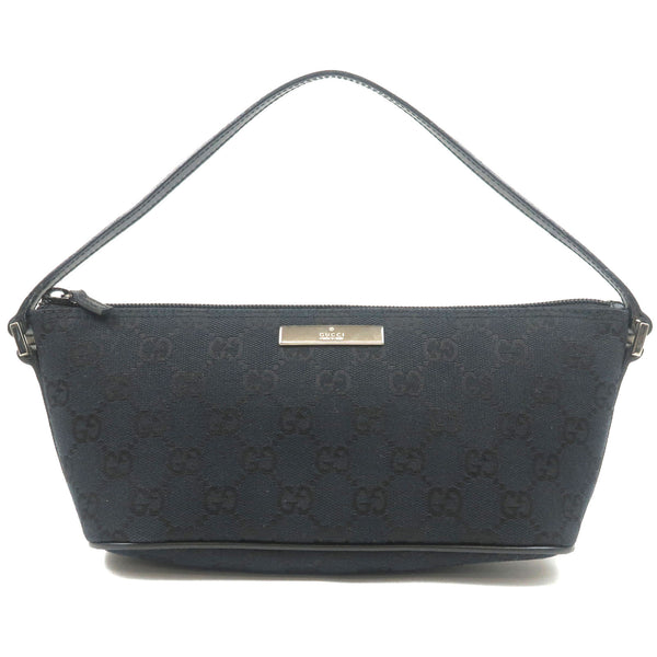 GUCCI-GG-Canvas-Leather-Pouch-Purse-Hand-Bag-Black-039.1103