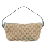 GUCCI-GG-Canvas-Leather-Pouch-Purse-Beige-Emerald-Green-07198