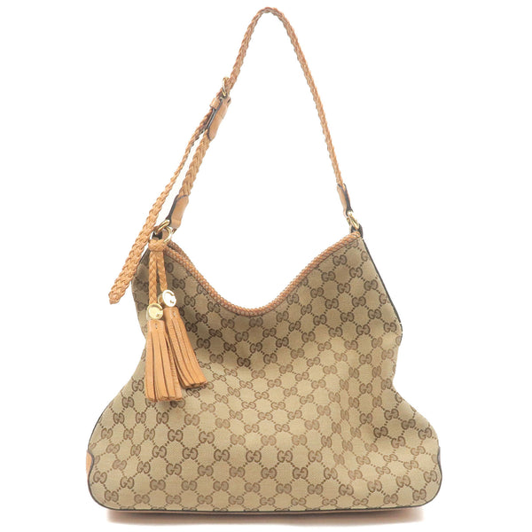 GUCCI-Marrakech-GG-Canvas-Leather-Shoulder-Bag-Beige-Brown-257026