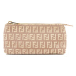 FENDI-Zucca-Print-Canvas-Leather-Pouch-Pink-Beige-7N0037