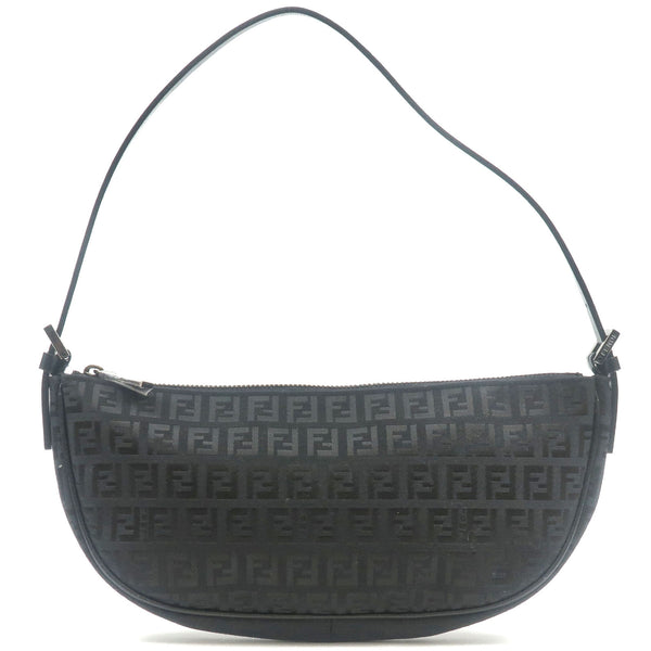 FENDI-Zucchino-Print-Canvas-Leather-Shoulder-Bag-Black-8BR144