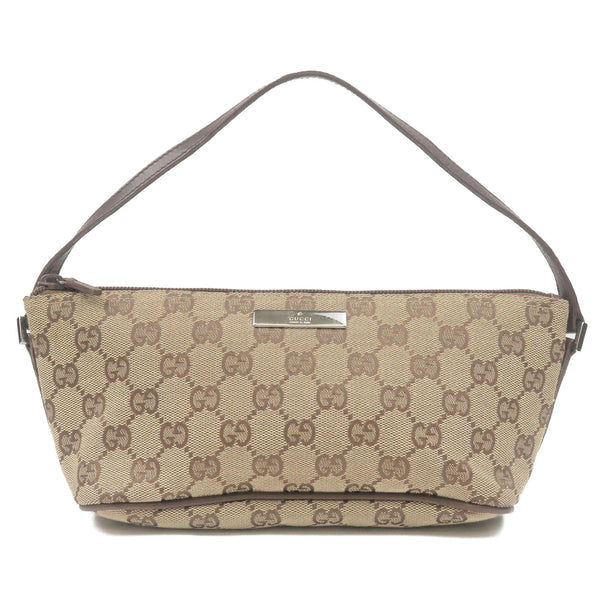 GUCCI-GG-Canvas-Leather-Pouch-Purse-Beige-Brown-07198