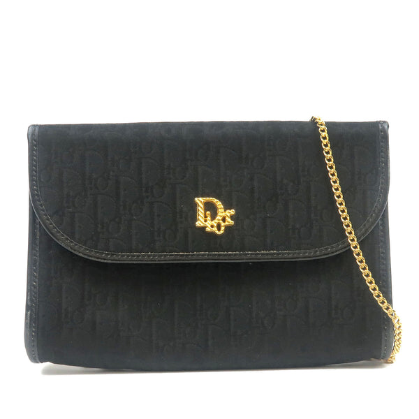 Christian-Dior-Trotter-Canvas-Leather-Chain-Shoulder-Bag-Black