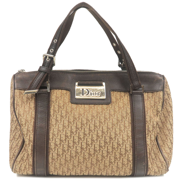 Christian-Dior-Trotter-Canvas-Leather-Mini-Boston-Bag-Beige-Brown