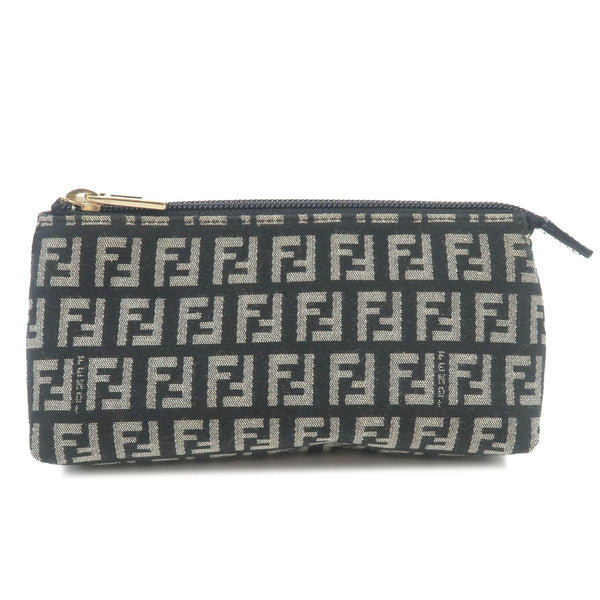 FENDI-Zucca-Print-Canvas-Leather-Pouch-Black-White-7N0037