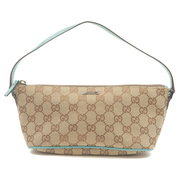 GUCCI-GG-Canvas-Leather-Hand-Bag-Beige-Emerald-Green-07198