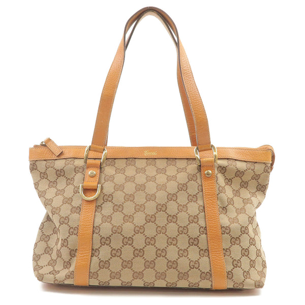 GUCCI-Abbey-Line-GG-Canvas-Leather-Tote-Bag-Beige-141470