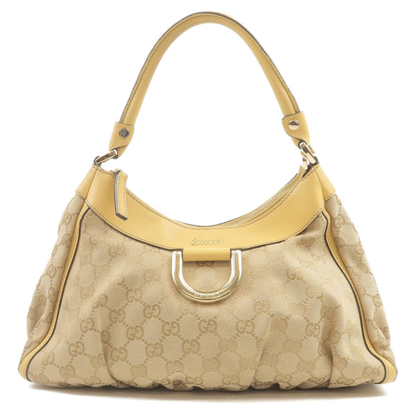 GUCCI-Abbey-Line-GG-Canvas-Leather-Shoulder-Bag-Beige-190525