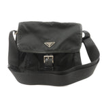 PRADA-Nylon-Leather-Shoulder-Bag-NERO-Black