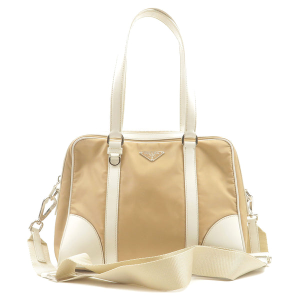 PRADA-Nylon-Leather-2Way-Hand-Bag-Shoulder-Bag-Beige-White-BR2908