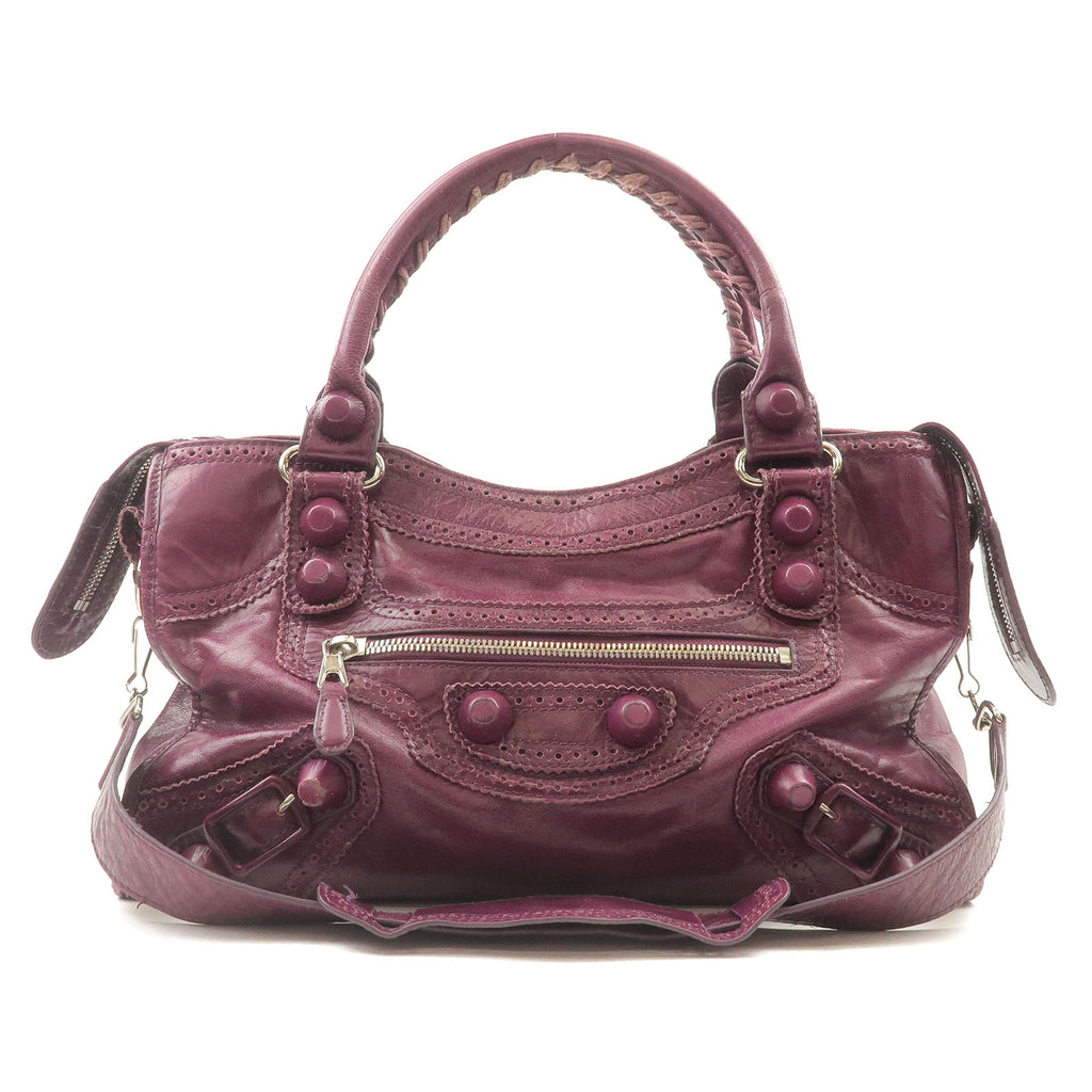 BALENCIAGA-The-City-Leather-2Way-Hand-Bag-Purple-115748