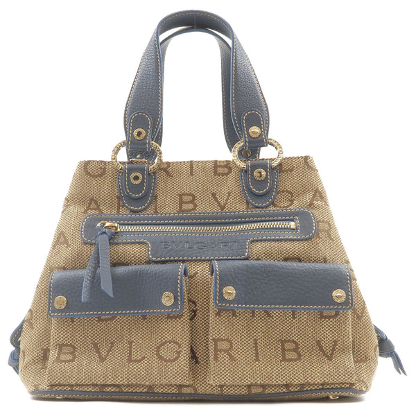 BVLGARI-Logo-Mania-Maxilettere-Canvas-Leather-Hand-Bag-Beige-Blue