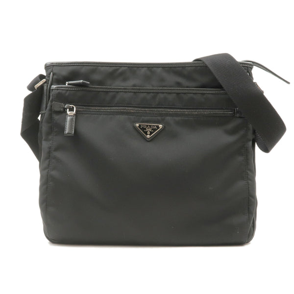PRADA-Nylon-Leather-Shoulder-Bag-Purse-NERO-Black