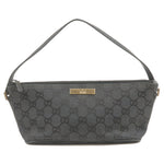 GUCCI-GG-Canvas-Leather-Pouch-Clutch-Bag-Black-07198