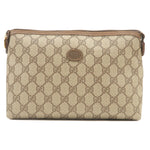 GUCCI-Old-Gucci-PVC-Leather-Pouch-Clutch-Bag-Brown
