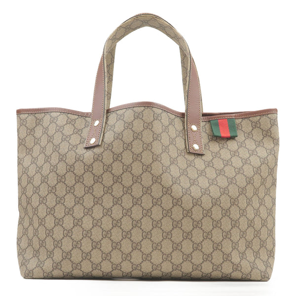 GUCCI-GG-Supreme-Leather-Sherry-Line-Tote-Bag-Brown-211134