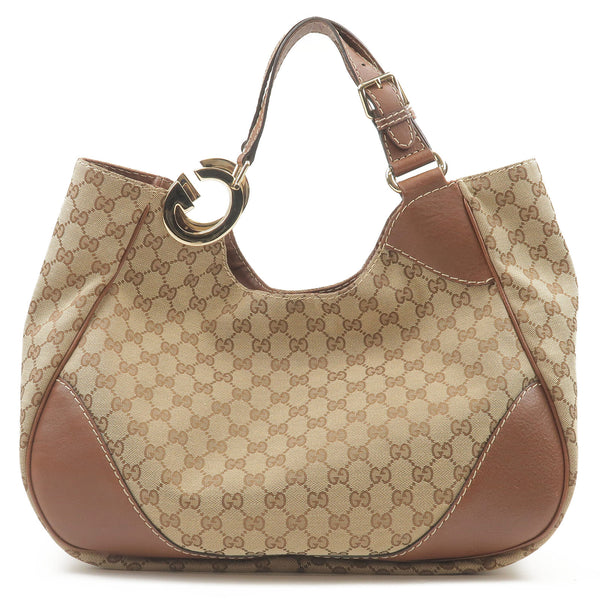 GUCCI-GG-Canvas-Leather-Tote-Bag-Brown-203504