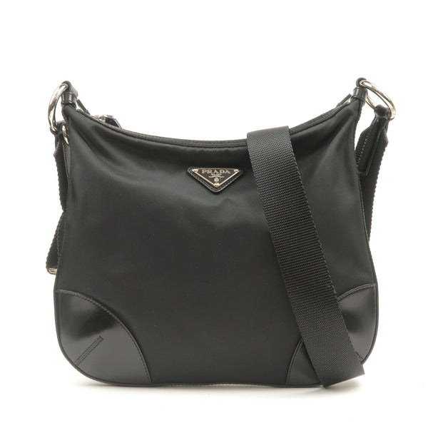 PRADA-Nylon-Leather-Shoulder-Bag-Purse-NERO-Black-BT0541