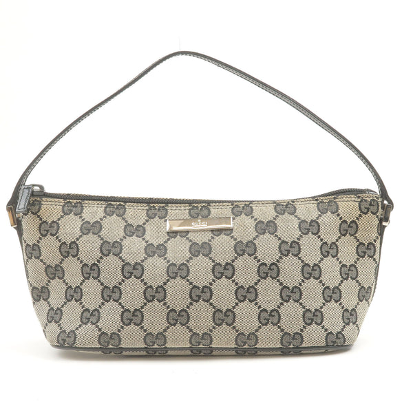 GUCCI-GG-Canvas-Leather-Pouch-Hand-Bag-Gray-Black-039.1103