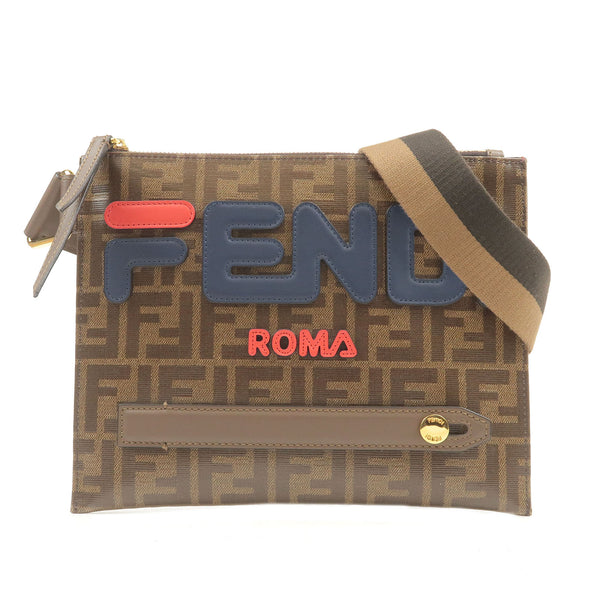 FENDI-FILA-Model-Zucca-Canvas-Leather-Shoulder-Bag-7VA437-A5N7