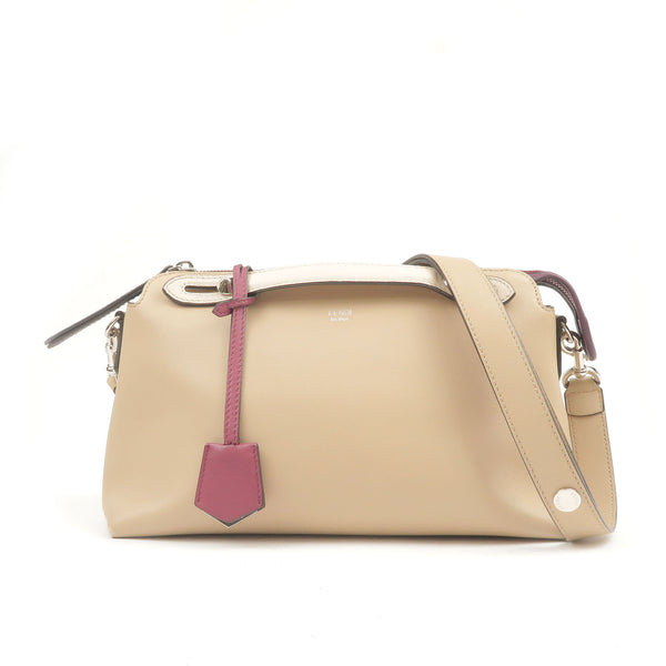 FENDI-Bay-The-Way-Leather-2Way-Bag-Shoulder-Bag-Beige-8BL124