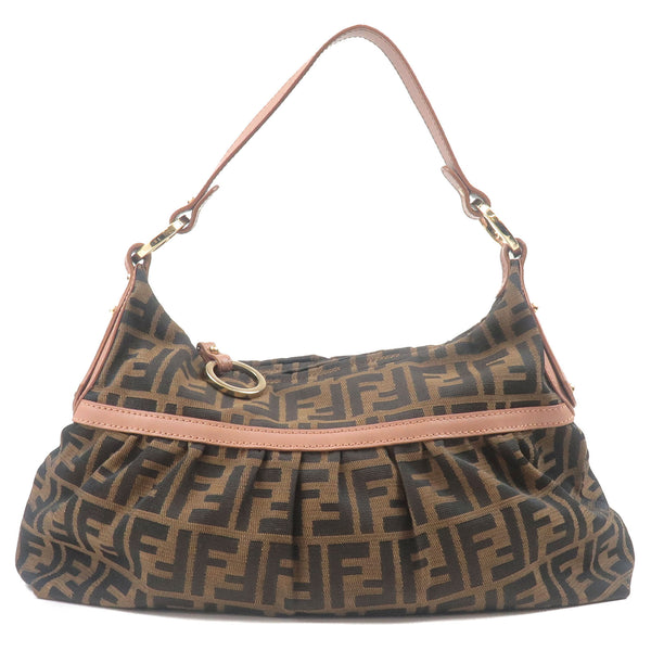 FENDI-Zucca-Canvas-Leather-Shoulder-Bag-Khaki-Black-Pink-8BR344