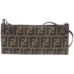 FENDI-Zucca-Canvas-Leather-Shoulder-Bag-Khaki-Black-16330