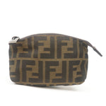 FENDI-Zucca-Print-Canvas-Leather-Pouch-Khaki-Black-7N00074