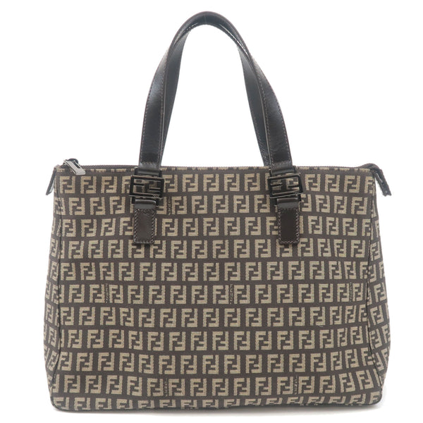 FENDI-Zucchino-Canvas-Leather-Tote-Bag-Beige-Brown-8BH134