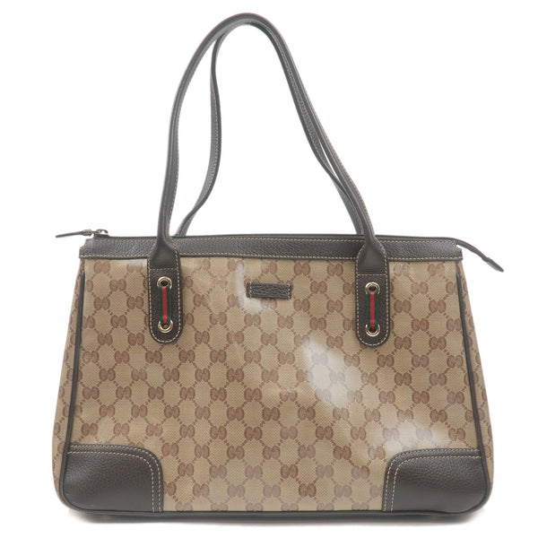GUCCI-GG-Crystal-Sherry-Line-PVC-Leather-Tote-Bag-Brown-293599
