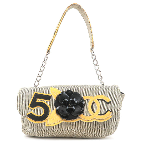 CHANEL-Camellia-No.5-Coco-Mark-Canvas-Chain-Shoulder-Bag
