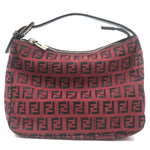 FENDI-Zucchino-Canvas-Leather-Pouch-Hand-Bag-Red-Black-8N0001