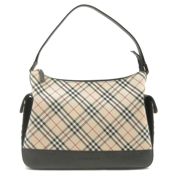 BURBERRY-Nova-Check-Canvas-Leather-Shoulder-Bag-Beige-Black