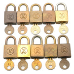 Louis-Vuitton-Set-of-10-Old-Style-Lock-&-Key-Cadena-Key-Lock