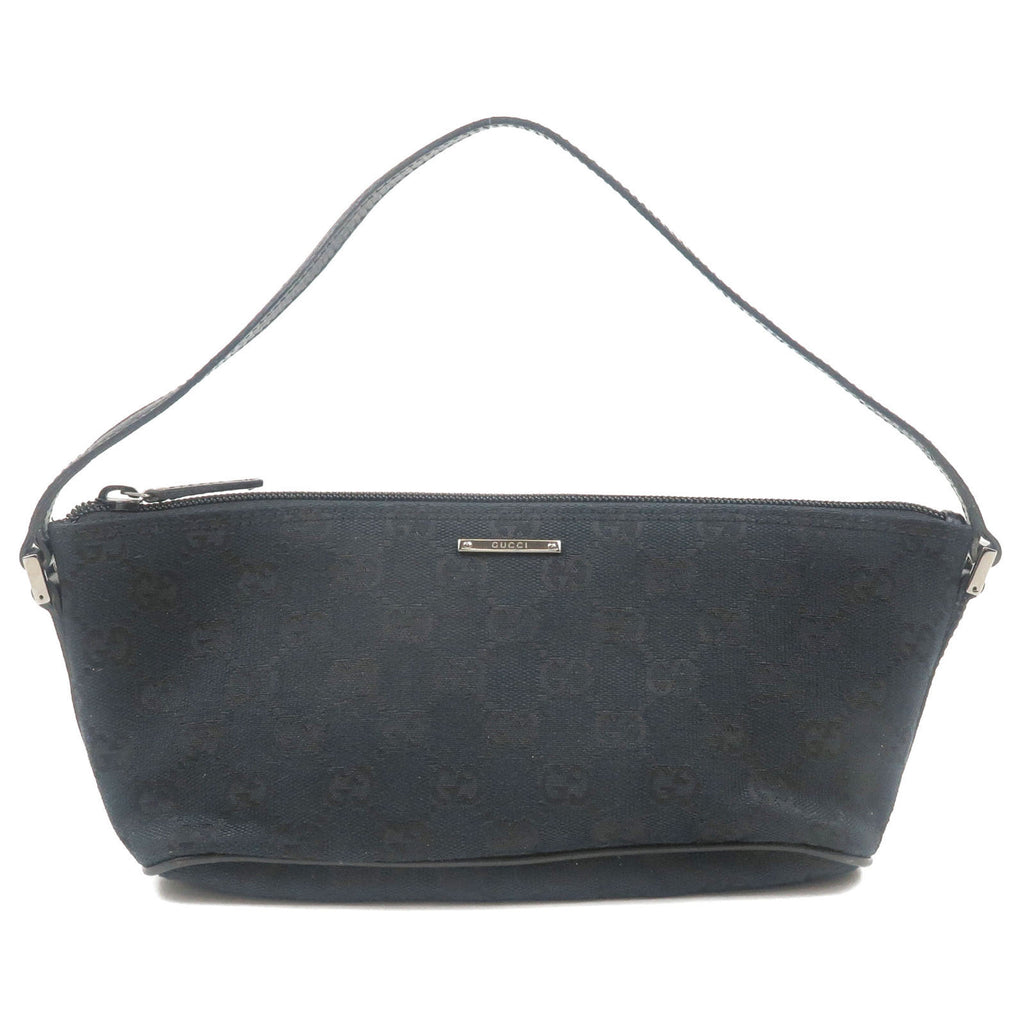 GUCCI-GG-Canvas-Leather-Purse-Hand-Bag-Black-07198