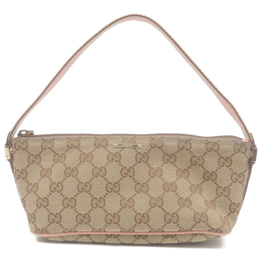 GUCCI-Sherry-GG-Canvas-Leather-Pouch-Hand-Bag-Beige-Pink-141809