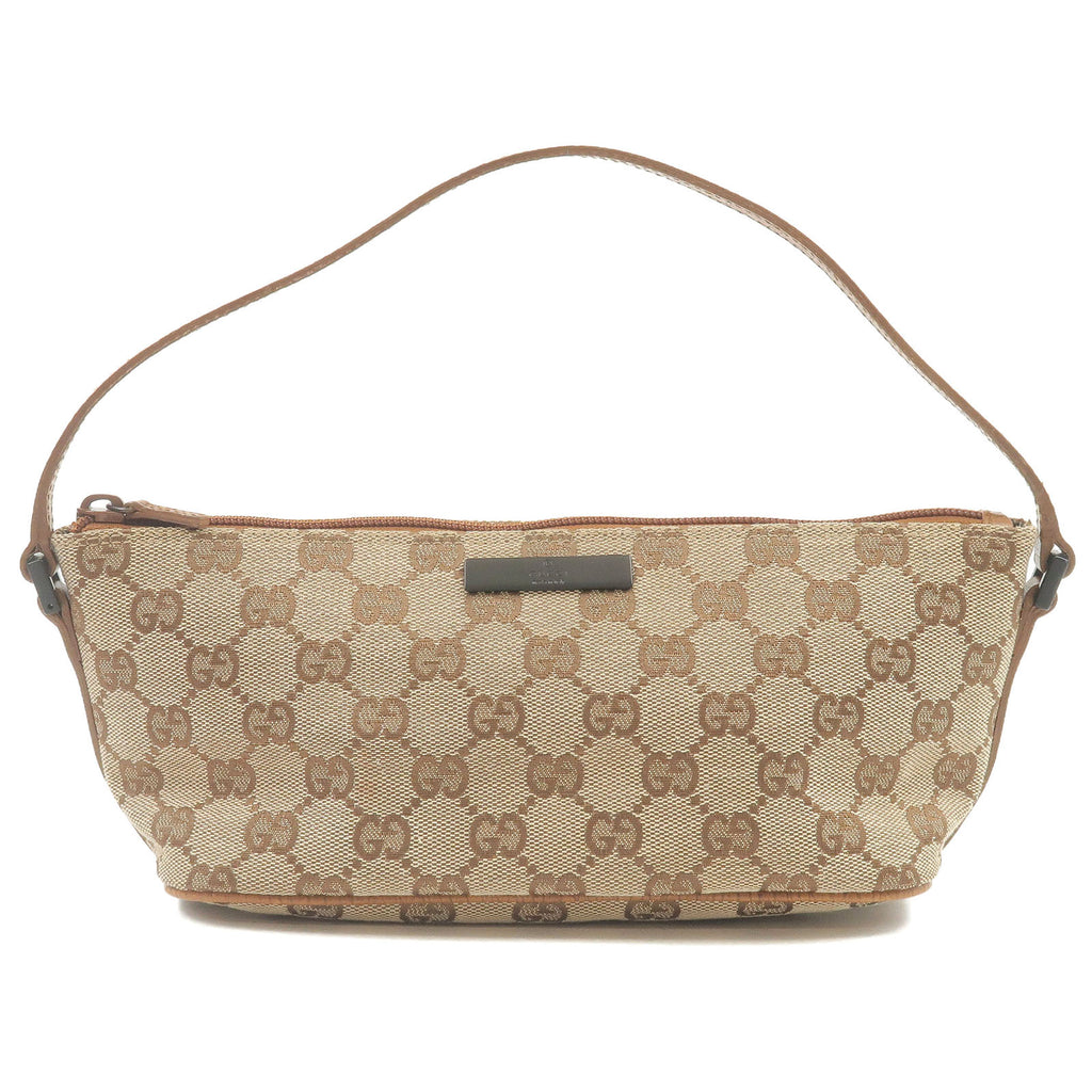 GUCCI-GG-Canvas-Leather-Hand-Bag-Pouch-Beige-Brown-07198