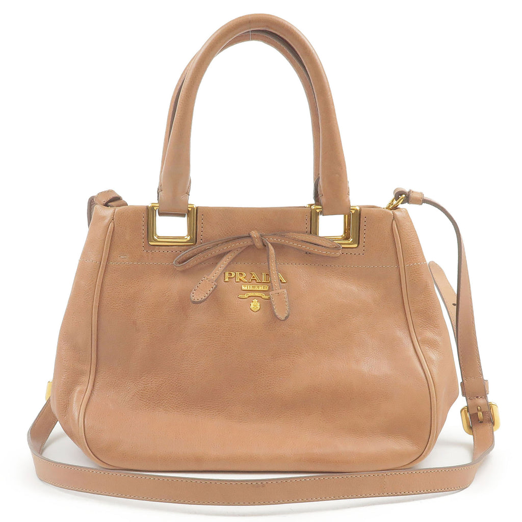 PRADA-Leather-2Way-Hand-Bag-Shoulder-Bag-Beige-BN2245