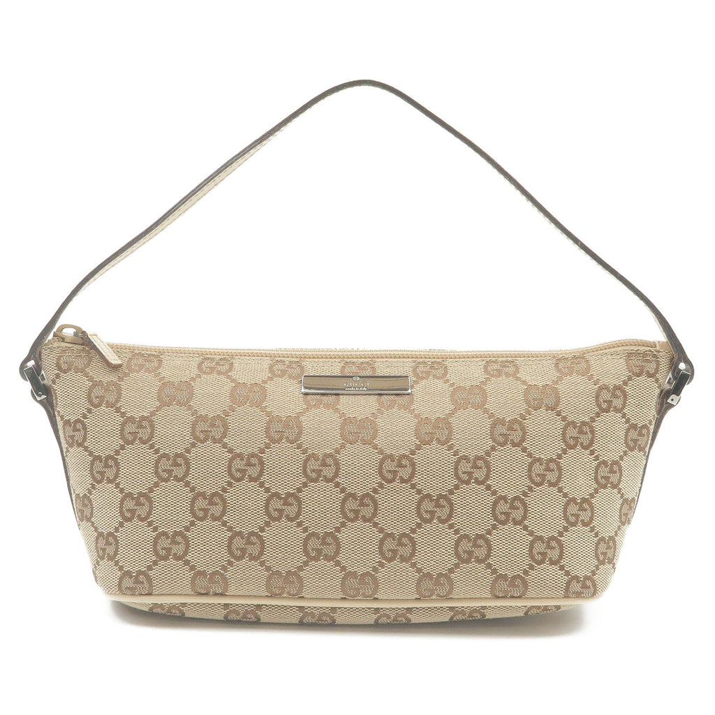 GUCCI-GG-Canvas-Leather-Pouch-Hand-Bag-Beige-Ivory-07198-2123