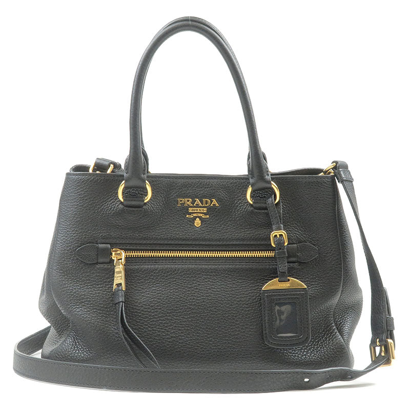 PRADA-Vitello-Phenix-Leather-2Way-Bag-Hand-Bag-Black-1BG044