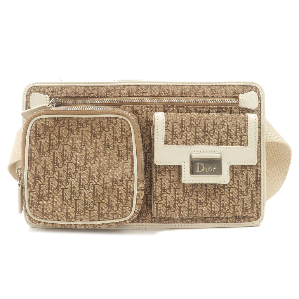 Christian-Dior-Trotter-Canvas-Leather-Waist-Bag-Beige-Ivory
