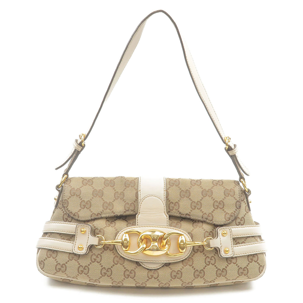 GUCCI-Horsebit-GG-Canvas-Leather-Shoulder-Bag-Beige-Ivory-159402