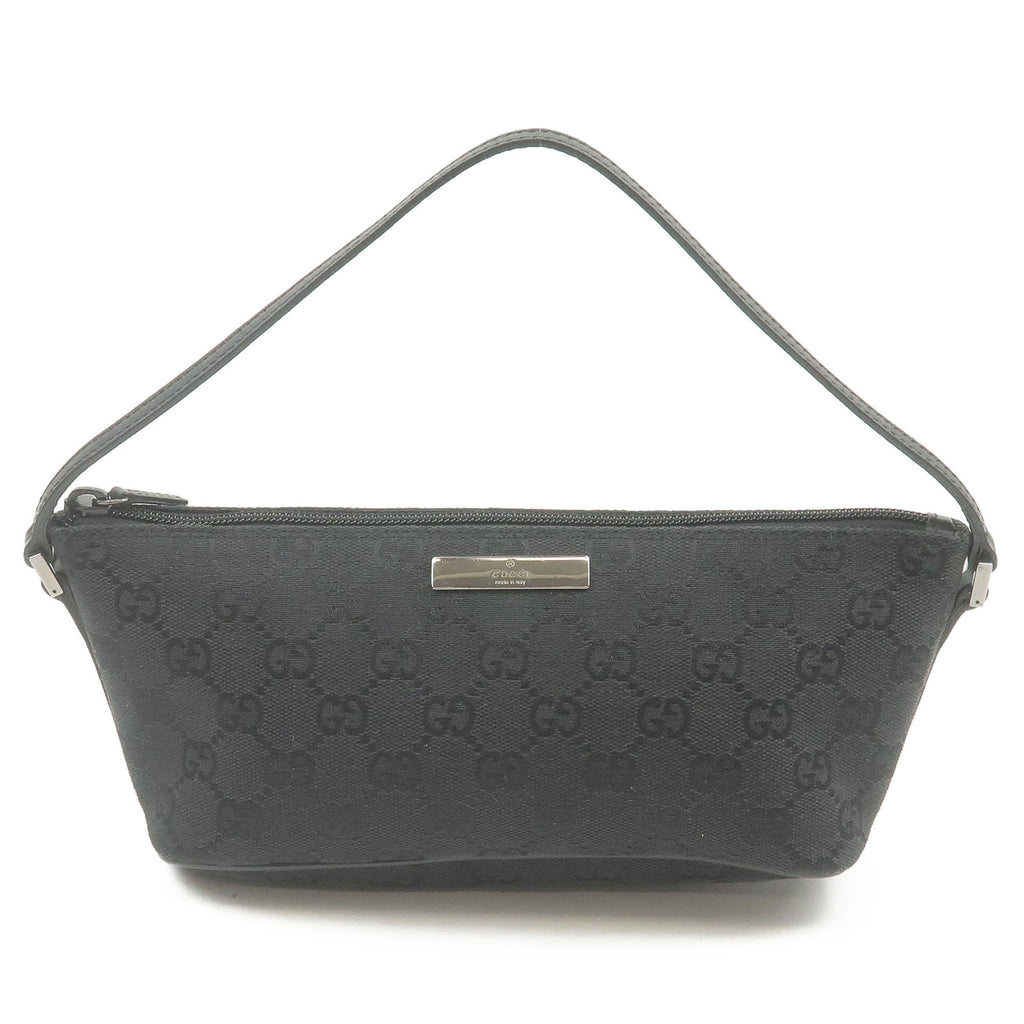 GUCCI-GG-Canvas-Leather-Pouch-Purse-Hand-Bag-Black-07198