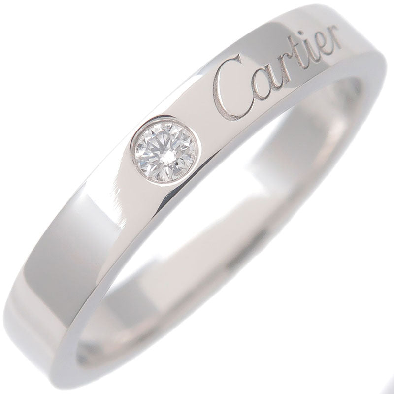 Cartier-Engraved-1P-Diamond-Ring-Platinum-#51-US5.5-6-EU51