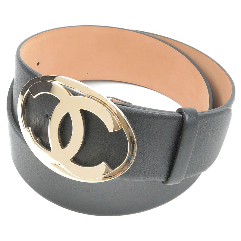 CHANEL-CoCo-Mark-Leather-Belt-Black-90/36-00V