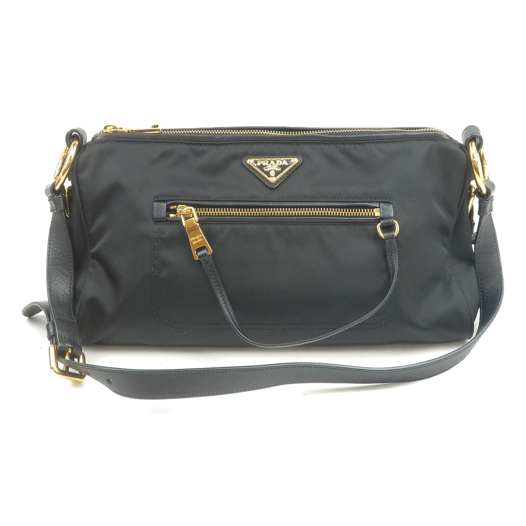PRADA-Nylon-Leather-Shoulder-Bag-Purse-Black-NERO-BR4355