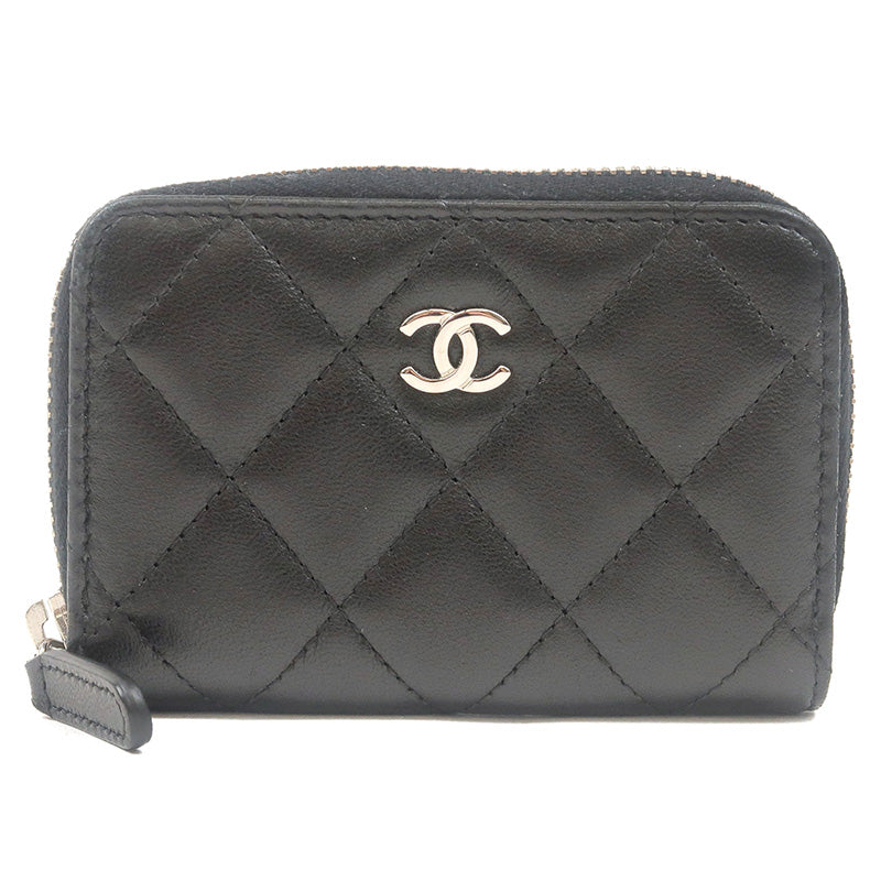 CHANEL-Lamb-Skin-Matelasse-Round-Zipper-Coin-Case-Black-A69271
