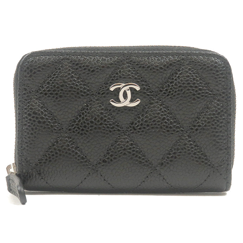 CHANEL-Matelasse-Caviar-Skin-Round-Zipper-Coin-Case-Black-A69271